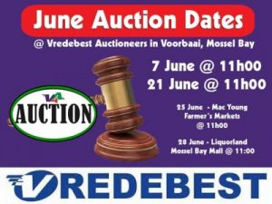 June 2016 Vredebest Auction Dates in Mossel Bay