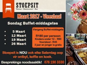 Maart Sondag Buffet-middagetes Vleesbaai Mosselbaai