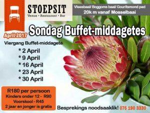 April Sondag Buffet-middagetes Vleesbaai Mosselbaai