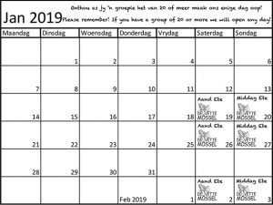 De Vette Mossel Grootbrak Kalender vir Januarie 2019